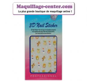Planche 49 stickers ongles 3 D motifs hiver